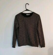 WE Fashion Zig Zag Lurex Sweater Black Gold Metallic Sz Small