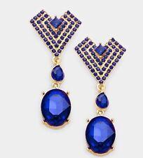 "2.25"" Long Gold Royal Blue Dangle Rhinestone Austrian Crystal Pageant Earrings"