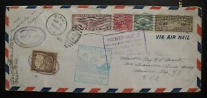 1930 1st Flight Pan Am Venezuela-Canal Zone-Miami AirMail Cover