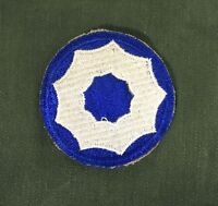WW2 US Army 9th Service Command Cut Edge Snow Back Patch (Original)