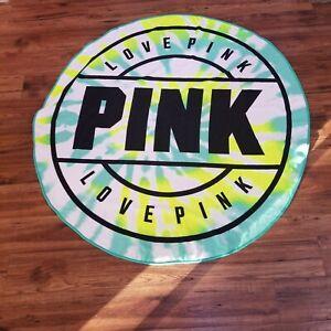 Victoria's Secret VS PINK Round Beach Towel Green Blue