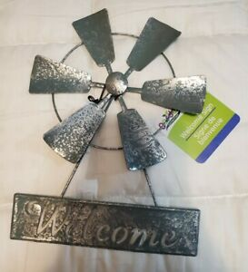Hanging Welcome Sign Metal Farm Windmill Small Blades Can Spin Home Decor