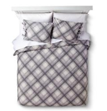 Homthreads Plaid Grey Duvet Cover and Sham Set - KING Size Gray and White