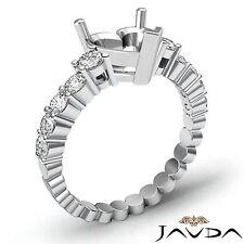 Diamond Engagement Heart Semi Mount Shared Prong Set Ring Platinum 950 0.70 Ct.