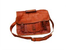 Genuine Leather Handmade Brown Messenger Shoulder Bag Satchel Retro Vintage 37