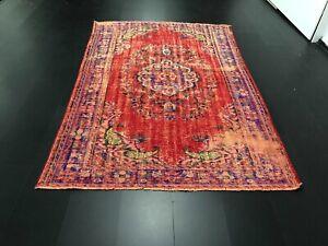 Red Overdyed Rug, Vintage Handmade Turkish Wool Rug, Tribal Anatolian Rug,  C200