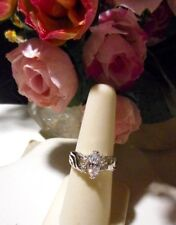 Womens Marquise cut over a carat in size with pave cut side CZ engagement ring