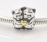 New Silver Twin Teddy Bear Hug love Charm Fit European Brand bracelet UK seller