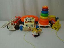 Fisher Price Toys Bundle Vintage Telephone Fire Truck Train Bundle Job Lot