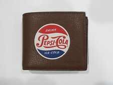 New tag NWT Mens Coach Saddle Brown Compact ID Pepsi Cola Leather Wallet F26085