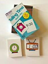 Telling Time Flash Cards Match Me Game Homeschool 1986 Funky Clocks Fun Learning