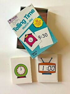 Telling Time Flash Cards Match Me Game Fun Learning Homeschool 1986 Funky Clocks