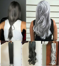 "20""22"" Straight Curly Wavy Clip in Hair Extensions Silver /Dark Grey"
