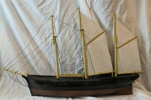 """Incredible ANTIQUE Wood CLIPPER SHIP WEATHERVANE Model Pond Yacht Boat 43""""x 27"""""""