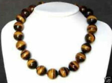 """Beautiful Natural 10MM Tiger's-eye Gems Round Beads Necklace 18"""""""