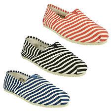 hommes Spot On rayé détail plat àenfiler Chaussures d'été en toile espadrilles