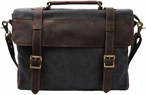 S-Zone Canvas Messenger Bag Leather Trim Satchel School Briefcase Laptop Grey