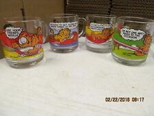 Vintage 1978 Garfield & Odie  Glass Mugs  from McDonalds Lot of 4  Jim Davis
