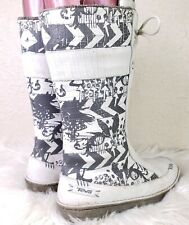 Teva Kiru Lily White Print Boot Lined Grey White Zip Fur Lined 4058 Womens 8.5