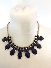 Black Gem Fashion Necklace Bib Gold Chain