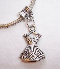 Dress Girl Clothes Daughter Dangle Charm Gift for Silver European Bead Bracelets