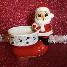 Vtg Santa Claus Red Boot Gold Trim Ermine Fur Figurine Japan Christmas Planter