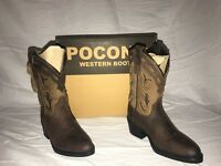 POCONO Children's Kids Leather Brown Round Toe Western Roper Boots C-1642 NIB