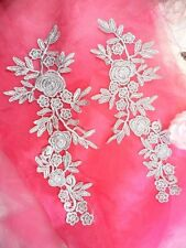 "Romantic Roses Embroidered Lace Appliques Silver Floral Mirror Pair 13"" (Dh84)"