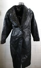 MAGGIE LAWRENCE Vintage Black Leather Gold Floral Lace Trench Jacket Coat M