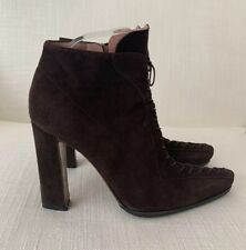 Alaia Brown Suede Lace Up Boots Size 38 USED