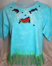 PICNIC ANT PARTY Fringe Shirt Beach Summer Tie Dye Crop Top 4th of July~ M