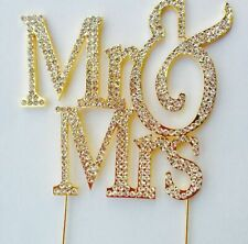 Gold Mr & Mrs Large Silhouette Bling Cake Toppers Wedding Anniversary