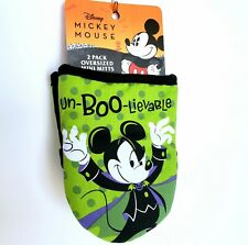 New listing Mickey Mouse 2pk Black/Green Un-Boo-lievable Halloween Oversized Mini Oven Mitts