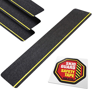 "Outdoor Stair Treads Non-Slip 6"" x 24"" (4-Pack) SKID GUARD Anti-Slip Tape Grip f"