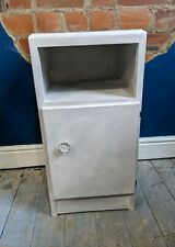Vintage Bedside Cabinet Grey Painted - Rustic White Cupboard Shabby Chic Table