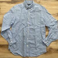 Banana Republic Mens Large Slim Fit Linen Blend Button Down Blue Shirt