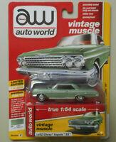 1962 Chevy Impala SS Laurel Green AUTO WORLD DIE-CAST 1:64 CAR w BOX