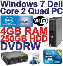 Windows 7 Dell Core 2 Quad HDMI Desktop PC Computer - 4GB RAM -250GB HDD - Wi-Fi