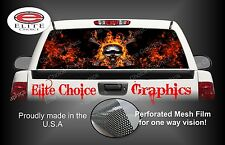 Flaming Skull Rear Window Graphic Decal Sticker Truck Car SUV