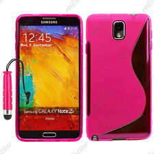 Housse Etui Coque Silicone S-line Rose Samsung Galaxy Note 3 N9000 + Mini Stylet