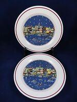 Christmas Oneida Holiday Harbor Set of 2 Dinner Plates Carol Eldridge USA   EC