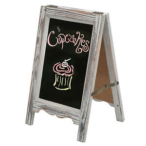 15-inch Rustic Wood A-Frame Double-Sided Chalkboard w/ Scalloped Bottom, Gray