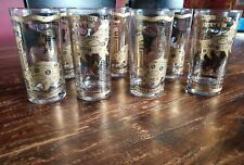 7 Georges Briard Vintage Barware Bull Bear, Ny Stock Exchange High Ball Glasses