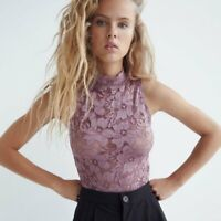 ZARA HIGH NECK FLORAL LACE BODYSUIT TOP WOMENS SIZE M PURPLE 2712/423 NEW NWT