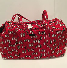 Vera Bradley Playful Penguins Red LARGE DUFFEL Travel Weekend Foldable Bag New