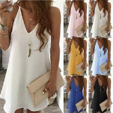 New Women Casual V Neck Suspenders Sleeveless Dress Solid Beach Summer Sundress