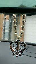 Silver Plated Punjabi Sikh Large Khanda Pendant Car Hanging white Pearl Beads