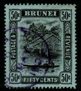BRUNEI SG45a 1920 50c BLACK/BLUE-GREEN FINE USED