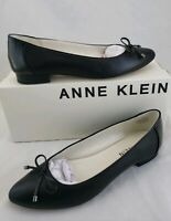Anne Klein AK70 Donete Black Leather Flats Shoes Women's 7.5 M