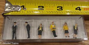 Preiser HO #10375 Railway Personnel -- Wearing Black & Yellow Uniforms pkg(6)